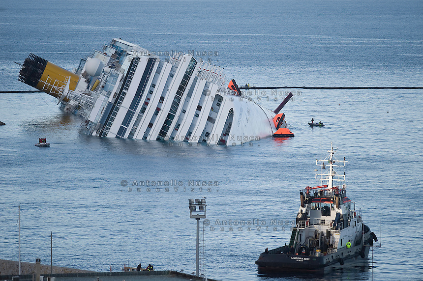 Isola del Giglio, Italy, January 17, 2012. The stricken cruise liner Costa Concordia lies partially submerged off the Isola del Giglio..