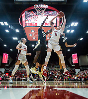 Stanford, CA - January 24, 2020: Ashten Prechtel, Lexie Hull at Maples Pavilion. The Stanford Cardinal defeated the Colorado Buffaloes in overtime, 76-68.