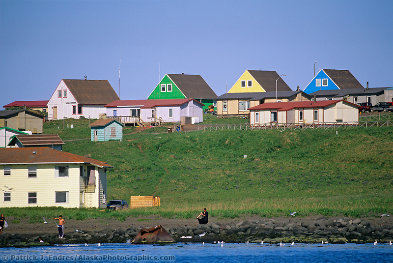 Native Alaskan homes along the hills in the village of St. Paul, on St. Paul Island, Pribilof Islands, Alaska