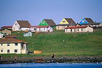 Native Alaskan homes along the hills in the village of St. Paul, on St. Paul Island, Pribilof Islands, Alaska