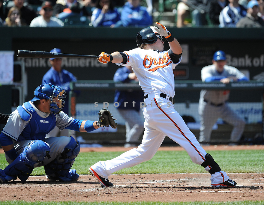 Baltimore Orioles Nate McLouth (9)  during a game against the Los Angeles Dodgers on April 21, 2013 at Oriole Park in Baltimore, MD. The Dodgers beat the Orioles 7-4.