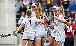 STONY BROOK, NY - MAY 27: A general view of the James Madison Dukes after scoring a goal during the Division I Women's Lacrosse Championship held at Kenneth P. LaValle Stadium on May 27, 2018 in Stony Brook, New York. (Photo by Ben Solomon/NCAA Photos via Getty Images)