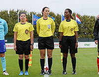 20170914 - TUBIZE ,  BELGIUM : referee's pictured with Irina Lyussina (middle) ,   Mila Da Silva Negroiros and Brigitte Umumararungu (r) during the friendly female soccer game between the Belgian Red Flames and European Champion The Netherlands , a friendly game in the preparation for the World Championship qualification round for France 2019, Thurssday 14 th September 2017 at Euro 2000 Center in Tubize , Belgium. PHOTO SPORTPIX.BE | DAVID CATRY