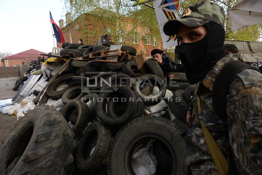 Barricades in the city center of Slovyansk