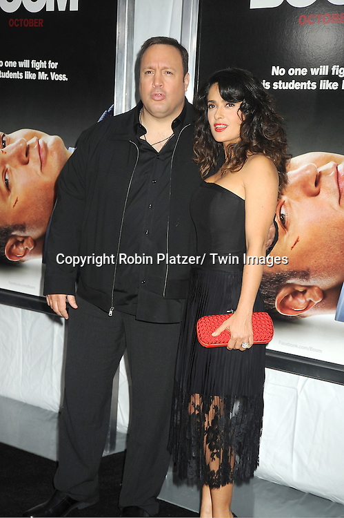 "Kevin James and Salma Hayek attend the World Premiere of ""Here Comes The Boom"" on October 9, 2012 at AMC Lincoln Square in New York City. The movie stars Kevin James, Salma Hayek, Henry Winkler, Bas Rutten, Chaarice. Greg Germann, Bas Rutten, Frank Coraci  and Gary Valentine."