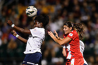 Sky Blue FC forward Danesha Adams (9) goes up for a header with Western New York Flash defender Brittany Taylor (13). The Western New York Flash defeated Sky Blue FC 2-0 during a National Women's Soccer League (NWSL) semifinal match at Sahlen's Stadium in Rochester, NY, on August 24, 2013.
