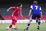 Simon Davies takes on Beni Fischer. Wales V Liechtenstein, 2010 World Cup Qualifying Group 4 © Ian Cook IJC Photography iancook@ijcphotography.co.uk www.ijcphotography.co.uk