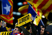 11th January 2018, Camp Nou, Barcelona, Spain; Copa del Rey football, round of 16, 2nd leg, Barcelona versus Celta Vigo; The crowd display their banners for Llibertat for the region