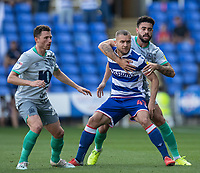 Reading's George Puscas (centre) under pressure from Blackburn Rovers' Elliott Bennett (right) <br /> <br /> Photographer David Horton/CameraSport<br /> <br /> The EFL Sky Bet Championship - Reading v Blackburn Rovers - Saturday 21st September 2019 - Madejski Stadium - Reading<br /> <br /> World Copyright © 2019 CameraSport. All rights reserved. 43 Linden Ave. Countesthorpe. Leicester. England. LE8 5PG - Tel: +44 (0) 116 277 4147 - admin@camerasport.com - www.camerasport.com
