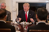 United States President Donald J. Trump speaks during a lunch with the United Nations Security Council at The White House in Washington, DC, January  29, 2018. <br /> Credit: Chris Kleponis / Pool via CNP