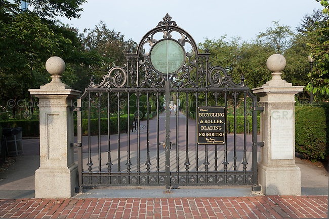 Entrance gate to the Boston Public Garden and Haffenreffer Walk on Charles street, Boston, Massachusetts