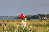 Tim Harry (WAL) on the 15th tee during the Afternoon Singles between Ireland and Wales at the Home Internationals at Royal Portrush Golf Club on Thursday 13th August 2015.<br /> Picture:  Thos Caffrey / www.golffile.ie