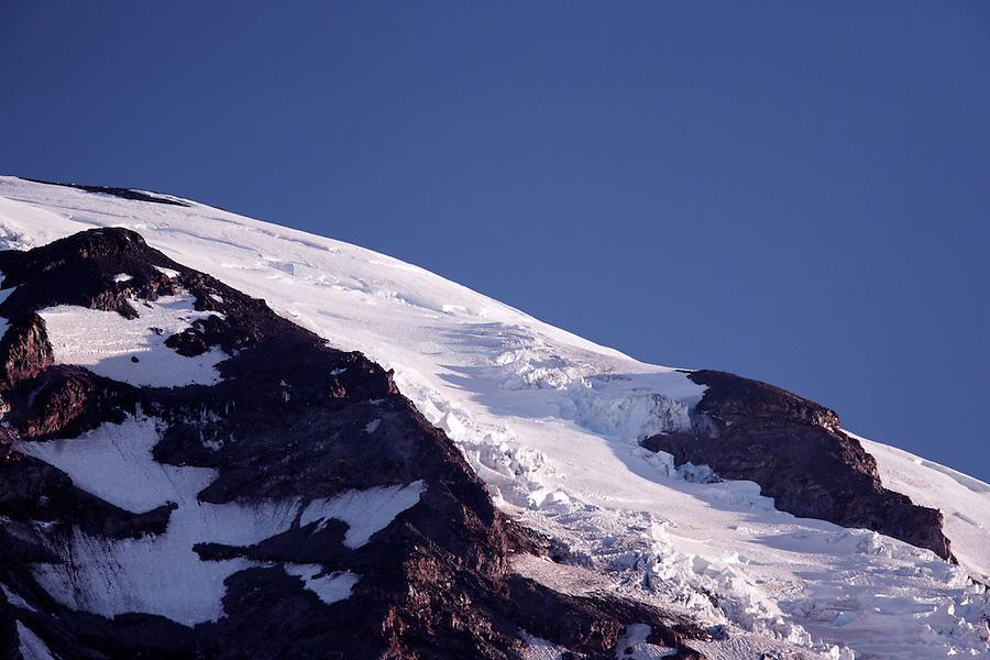 Glaciated shoulder of Mount Rainier just after sunrise, Mount Rainier National Park, Pierce County, Washington, USA