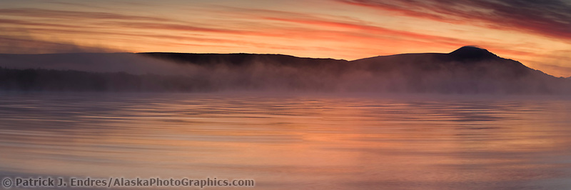 Sunrise over Naknek lake, Kejulik mountains, Katmai National Park, Alaska.