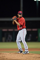 AZL Angels relief pitcher Sadrac Franco (72) prepares to deliver a pitch during an Arizona League game against the AZL Indians 2 at Tempe Diablo Stadium on June 30, 2018 in Tempe, Arizona. The AZL Indians 2 defeated the AZL Angels by a score of 13-8. (Zachary Lucy/Four Seam Images)