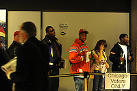 Early voters line up to vote in the basement of a Cook County building at 69 W. Washington in Chicago, Illinois on October 29, 2008.  Lines averaged around an hour and all African-American voters surveyed who were voting for the first time were eligible for the first time, evidence of the efficiency of the Chicago machine in turning out registered and active voters.