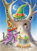 Interlitho, Lorella, REALISTIC ANIMALS, Halloween, paintings, tree trunk, cat, frog(KL3662,#A#)