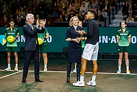 Rotterdam, The Netherlands, 16 Februari 2020, ABNAMRO World Tennis Tournament, Ahoy,<br /> Mens Single Final:  Prizegiving: ltr: the CEO of the ABNAMRO Bank Kees van Dijkhuizen, director Ahoy Jolanda Jansen and  runner up Felix Auger-Aliassime (CAN), <br /> Photo: www.tennisimages.com
