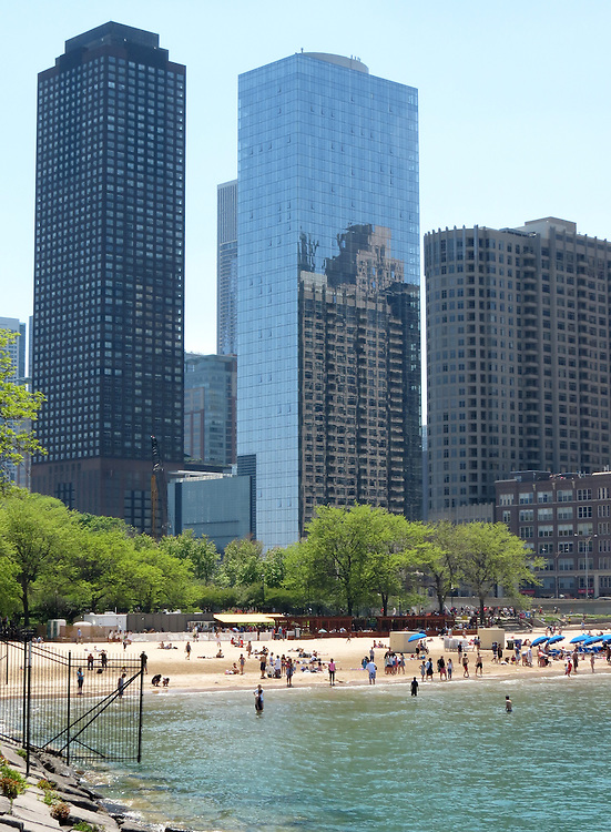 Chicago Scenes - Spring -  The Chicago skyline, seen from Milton Lee Olive Park and the Ohio Street Beach on Lake Michigan. (DePaul University/Jamie Moncrief)