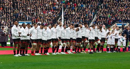 11th November 2017, Twickenham Stadium, London, England; Autumn International Series, England versus Argentina;  The England team stand motionless for one minutes reflection for the War dead on this remembrance day