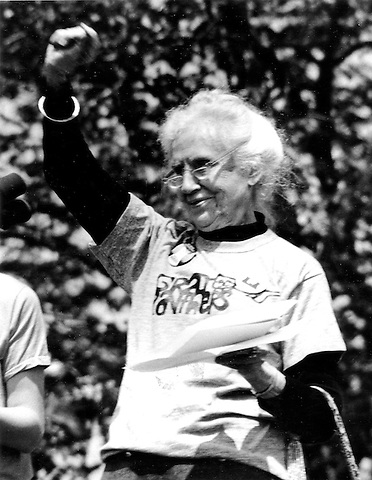 Maggie Kuhn, founder Gray Panthers at anti nuclear rally in Washington D.C. May 6, 1979