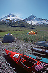 Alaska, Sea Kayak campsite, Kenai Fjords National Park, U.S.A. Feathercraft breakdown aluminun and fabric kayaks.