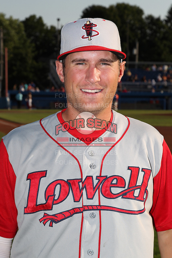 Lowell Spinners second baseman Nick Robinson poses for a photo before a game vs. the Batavia Muckdogs at Dwyer Stadium in Batavia, New York July 16, 2010.   Batavia defeated Lowell 5-4 with a walk off RBI single.  Photo By Mike Janes/Four Seam Images