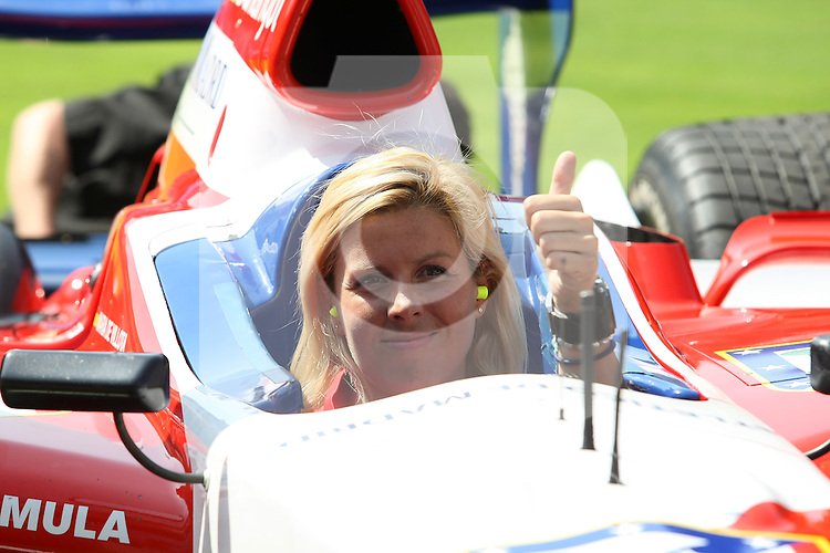 Atletico de Madrid's Superleague Formula new pilot Maria de Villota during her presentation with the car in Vicente Calderon Stadium. September 01 2009. (ALTERPHOTOS/Acero).
