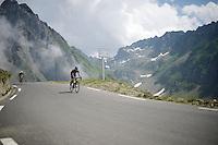 race leaders Mikel Nieve (ESP/SKY) &amp; Blel Kadri (FRA/Ag2r-La Mondiale) coming down fast over the top of the Col du Tourmalet (HC/2115m/17.1km/7.3%)<br /> <br /> 2014 Tour de France<br /> stage 18: Pau - Hautacam (145km)