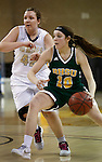 RAPID CITY, SD - FEBRUARY 24, 2016 -- Remi Wientjes #10 of Black Hills State drives past Stacie Hull #42 of South Dakota Mines during their college basketball game Wednesday at the Rushmore Plaza Civic Center Ice Arena, S.D.  (Photo by Dick Carlson/Inertia)
