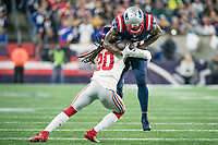 FOXBORO, MA - OCTOBER 10: New England Patriots Wide Receiver Josh Gordon (10) tackled by New York Giants Cornerback Janoris Jenkins (20) during a game between New York Giants and New England Patriots at Gillettes on October 10, 2019 in Foxboro, Massachusetts.