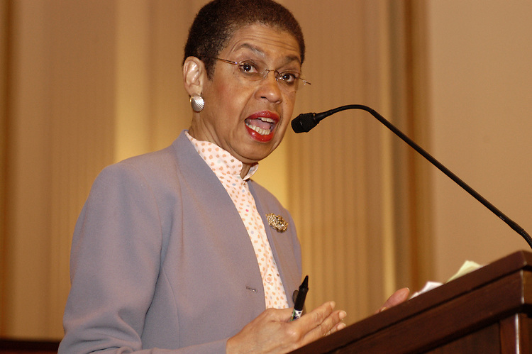 Rpe. Eleanor Holmes Norton, D-DC, at a senior town hall meeting in the Cannon oofice building on Medicare prescription drugs.