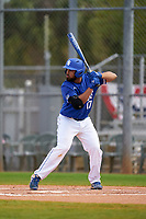 Indiana State Sycamores Miguel Rivera (17) bats during a game against the Chicago State Cougars on February 23, 2020 at North Charlotte Regional Park in Port Charlotte, Florida.  Chicago State defeated Indiana State 3-0.  (Mike Janes/Four Seam Images)