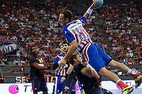 08.09.2012 MADRID, SPAIN -  XXVII Supercopa Asobal match played between BM At. Madrid vs F.C. Barcelona Intersport (31-34) at Palacio Vistalegre stadium. The picture show Alvaro Ferrer (BM Atletico de Madrid)