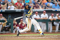 Michigan Wolverines outfielder Jordan Brewer (22) swings the bat during Game 6 of the NCAA College World Series against the Florida State Seminoles on June 17, 2019 at TD Ameritrade Park in Omaha, Nebraska. Michigan defeated Florida State 2-0. (Andrew Woolley/Four Seam Images)