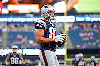 Thursday August 11, 2016: New England Patriots tight end Rob Gronkowski (87) prepares for an NFL pre-season game between the New Orleans Saints and the New England Patriots held at Gillette Stadium in Foxborough Massachusetts. The Patriots defeat the Saints 34-22 in regulation time. Eric Canha/CSM