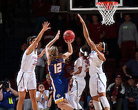 STANFORD, CA - March 21, 2016: Stanford Cardinal defeats the South Dakota State Jackrabbits 66-65 in a second round NCAA tournament game at Maples Pavilion. Erica McCall blocks the final shot of the game to preserve Stanford's win.