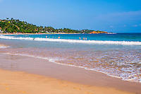 Golden sands and blue waters of the Indian Ocean at Mirissa Beach, South Coast of Sri Lanka, Asia. This is a photo of golden sands and blue waters of the Indian Ocean at Mirissa Beach, South Coast of Sri Lanka, Asia.