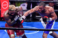 """Fairfax, VA - May 11, 2019: Julian J-Rock"""" Williams with a big right hand during Jr. Middleweight title fight against Jarrett """"Swift"""" Hurd at Eagle Bank Arena in Fairfax, VA. Julian Williams defeated Hurd to take home the IBF, WBA and IBO Championship belts by unanimous decision. (Photo by Phil Peters/Media Images International)"""