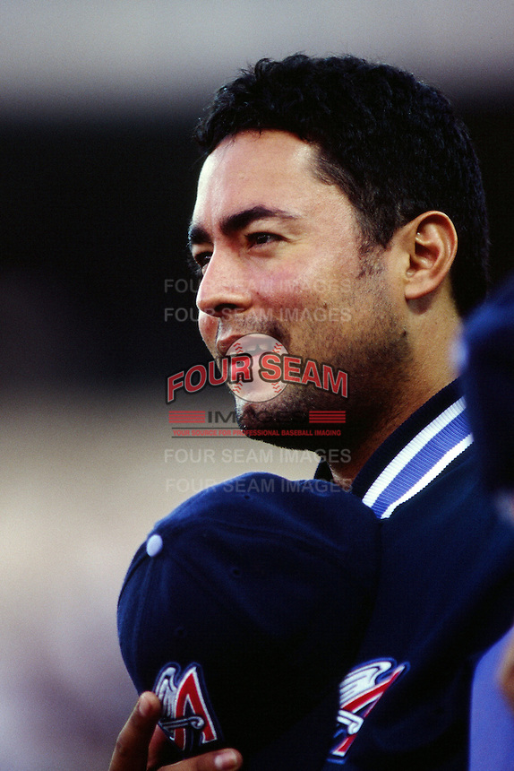 Omar Olivares of the Anaheim Angels during a game circa 1999 at Angel Stadium in Anaheim, California. (Larry Goren/Four Seam Images)