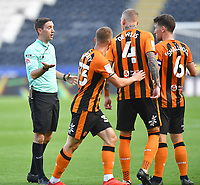 Hull City's Greg Docherty, Richard Smallwood and Jordy de Wijs have words with Referee Ben Toner at half time<br /> <br /> Photographer Dave Howarth/CameraSport<br /> <br /> The EFL Sky Bet League One - Hull City v Crewe Alexandra - Saturday 19th September 2020 - KCOM Stadium - Kingston upon Hull<br /> <br /> World Copyright © 2020 CameraSport. All rights reserved. 43 Linden Ave. Countesthorpe. Leicester. England. LE8 5PG - Tel: +44 (0) 116 277 4147 - admin@camerasport.com - www.camerasport.com