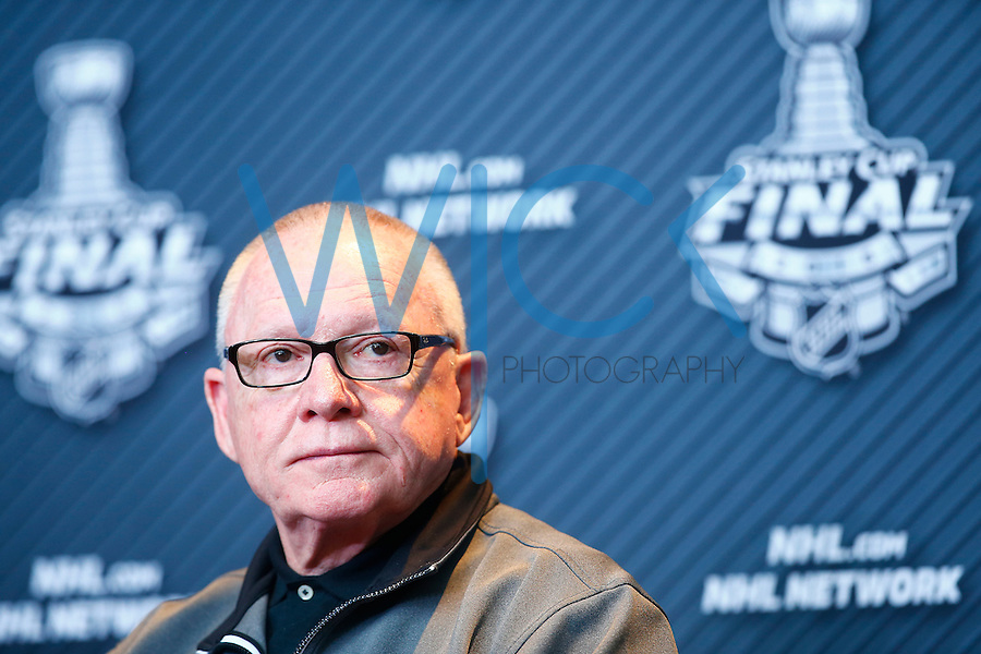 Pittsburgh Penguins GM Jim Rutherford speaks during media day prior to the start of the Stanley Cup Final series between the Pittsburgh Penguins and the San Jose Sharks at Consol Energy Center in Pittsburgh, Pennslyvania on May 29, 2016. (Photo by Jared Wickerham / DKPS)