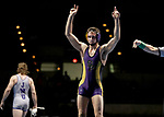 LA CROSSE, WI - MARCH 11: Logan Hermsen of Wisconsin-Stevens Point celebrates after beating Stephen Jarrell of Johnson & Wales in the 165 weight class during NCAA Division III Men's Wrestling Championship held at the La Crosse Center on March 11, 2017 in La Crosse, Wisconsin. Hermsen beat Jarrell 4-2 to win the National Championship. (Photo by Carlos Gonzalez/NCAA Photos via Getty Images)
