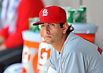 12 March 2012: St. Louis Cardinals pitcher Chuckie Fick looks out from the dugout during a Spring Training game against the Washington Nationals at Space Coast Stadium in Viera, Florida. The Nationals defeated the Cardinals 8-4 in Grapefruit League play. Mandatory Credit: Ed Wolfstein Photo