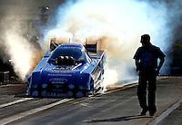 Sep 14, 2013; Charlotte, NC, USA; NHRA funny car driver Robert Hight during qualifying for the Carolina Nationals at zMax Dragway. Mandatory Credit: Mark J. Rebilas-