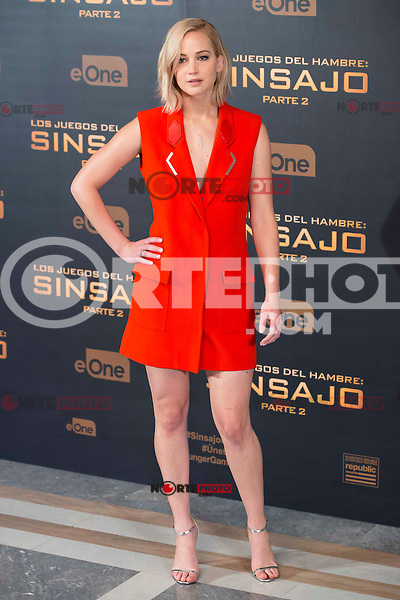 """Actress Jennifer Lawrence during the presentation of film """"The Hunger Games: Sinsajo Part 2"""" in Madrid, Novermber 10, 2015.<br /> (ALTERPHOTOS/BorjaB.Hojas)"""