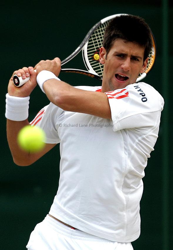 Photo: Paul Thomas..Wimbledon Championships. 04/07/2007...Novak Djokovic (SRB) in action against Nicolas Kiefer.
