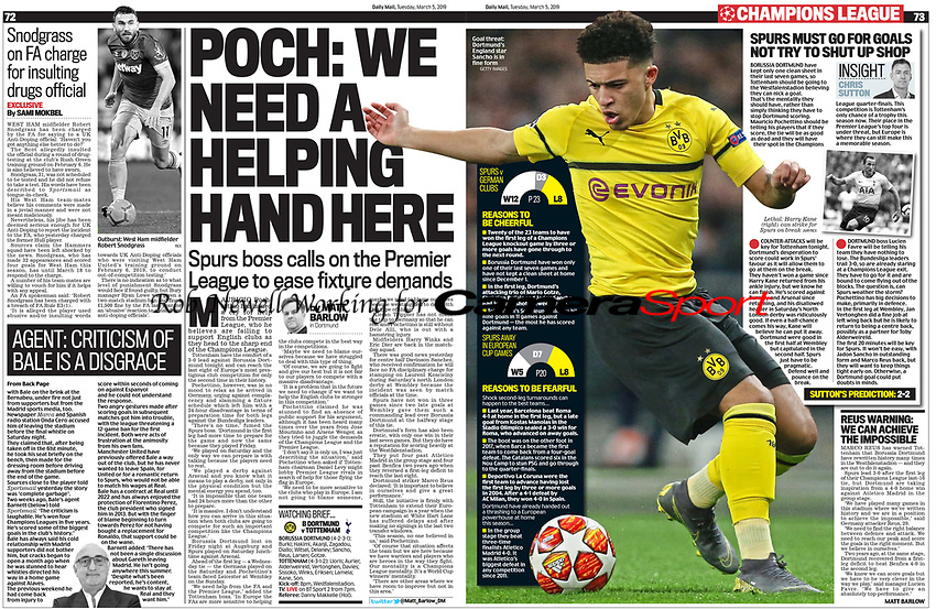 Daily Mail - 05-Mar-2019 - 'Goal threat: Dortmund's England star Sancho is in fine form' - Photo by Rob Newell (Camerasport via Getty Images)