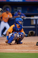 St. Lucie Mets catcher Ali Sanchez (25) awaits the pitch during a game against the Daytona Tortugas on August 3, 2018 at First Data Field in Port St. Lucie, Florida.  Daytona defeated St. Lucie 3-2.  (Mike Janes/Four Seam Images)