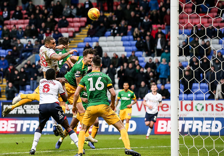 Bolton Wanderers' Josh Magennis heads at goal <br /> <br /> Photographer Andrew Kearns/CameraSport<br /> <br /> The EFL Sky Bet Championship - Bolton Wanderers v Preston North End - Saturday 9th February 2019 - University of Bolton Stadium - Bolton<br /> <br /> World Copyright © 2019 CameraSport. All rights reserved. 43 Linden Ave. Countesthorpe. Leicester. England. LE8 5PG - Tel: +44 (0) 116 277 4147 - admin@camerasport.com - www.camerasport.com